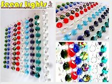 100 MULTI COLOUR BLING CHANDELIER CRYSTALS DROPLETS CUT GLASS BEAD WEDDING DROPS