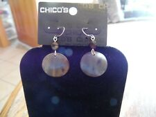 Chico's Silver with Beads & Brown and Tan Disks Dangle Pierced Earring NWT