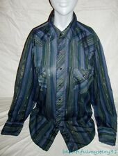 Wrangler Vtg Permanent Press Striped Purple Snap Button Western Shirt 16-34 USA
