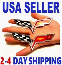 🇺🇸 X2 CORVETTE PIECES Cross Flags CHEVROLET TRUCK EMBLEM sign logo ORNAMENT sv