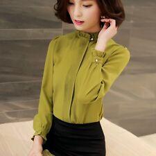 Women Chiffon T Shirt Long Sleeve Collar Blouse Tee Slim Plain Elegant Work Top