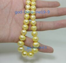 "20"" Stunning AAA+ 10-11mm real natural south sea golden pearl necklace 14k Clasp"