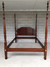 STATTON CENTENNIAL SOLID CHERRY QUEEN SIZE REEDED POSTER BED FRAME