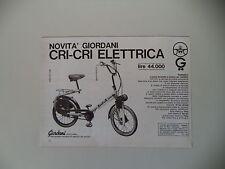 advertising Pubblicità 1968 BICICLETTA ELETTRICA CRI-CRI GIORDANI