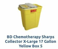 BD Chemotherapy Sharps Collector X-Large 17 Gallon Yellow Case of 5!!!