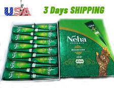 Neha EID Natural Oil Based Henna Mehandi Cones Temporary Tattoo 12 Pcs USA STOCK