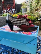 LADIES POETIC LICENSE UK4/ 37BURGUNDY LEATHER/TWEED HEELED LACE UP VINTAGE SHOES