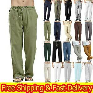 Mens Cotton Linen Pants Drawstring Loose Baggy Elasticated Beach Lounge Trousers