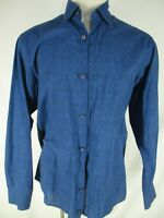Ermenegildo Zegna Mens Blue Long Sleeve Cotton Shirt L Recent