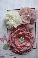 BROWN /& GOLD Fabric Organza Sequined 6 Flower Mix 25-75mm Njoyfull Crafts E3