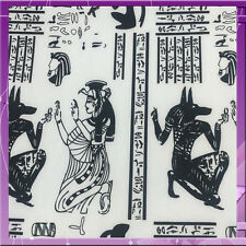 100% POLYESTER STRETCH EGYPTIAN INSPIRED PRINT 58 INCH WIDE FABRIC WHITE / BLACK