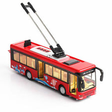Electric Red Trolley Bus Model 1/36 Diecast Tram Vehicle With Rotatable Antenna