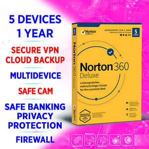Norton 360 Deluxe 2021 Multidevice 5 devices 1 year, incl. VPN, Backup (EU only)