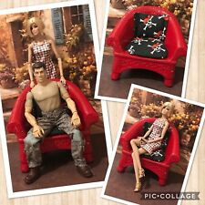 BARBIE,DOLL, LARGE RED CUSTOM CHAIR, KEN'S MAN'S CAVE CHAIR,DIORAMA,OOAK,