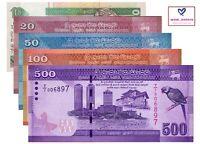 SRI LANKA BANKNOTE SET 5 PCS, 10 20 50 100 500 RUPEES 2015-19 P108e P123-126 UNC