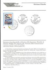 ITALIE 1998 JOURNÉE DES COMMUNICATIONS SOCIALES BULLETIN COMPLET DE TIMBRES FDC