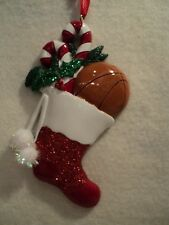 "KSA ""BASKETBALL IN STOCKING"" Ornament ~ Personalizable ~ Great Gift Idea"