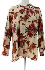 Linea Louis Dell'Olio Floral Printed Blouse Alabaster Multi 1X NEW A295911