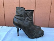 EUC DIESEL FIRETIP WOMENS US 7.5 EUR 38 GRAY DISTRESSED LEATHER STILETTO BOOTS