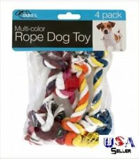 Knotted Rope Toy - Set of 4 - Multi-Color - dog puppy chew teething pull - USA