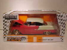 1955 Chevy Bel Air Diecast Car 1:24 Jada Big Time Muscle 8 inch RED Chrome Rims