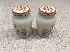 Vintage FIRE KING Tulips Salt Pepper Shakers Original Screw on Metal Lids 1950s