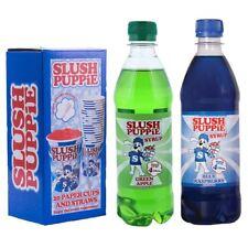 Slush Puppie Blue Raspberry, Green Apple 500ml Syrup & 20 Cup and Straw Set