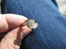 plus baguette diamond wedding ring size 6.25 5.1 gram 14 k gold 3/8 c. solitaire