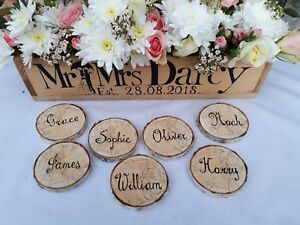 1/10/50 PERSONALIZED WOODLAND RUSTIC BARN WEDDING NAME PLACE CARDS WOODEN LOGS