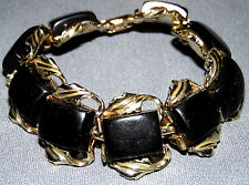 VINTAGE GOLD TONE BLACK LUCITE BRACELET~ SIGNED: CORO
