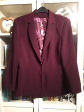 H74 Evans PlusSz 20 Dark Purple/Mauve Silky Floral Lined Smart One Button Jacket
