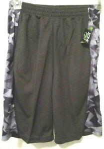 Boys Short Pants Gray Camouflage Side Panels Zone Pro Mesh Pockets NWT L M S