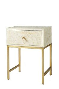Bone Inlay Star Design Bedside Table In White Color Nightstand One Drawer