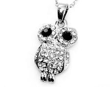 Vintage punk goth retro silver black owl charm necklace