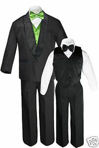 Boy Satin Shawl Lapel Suit Tuxedos EXTRA Lime Green Bow Tie Vest Set Outfit S-18