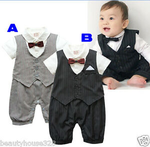 Baby Boy Tuxedo Bow Tie Christening Wedding Formal Bodysuit Outfit 3 -18 months