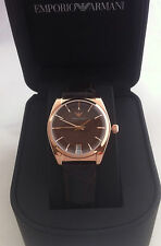 EMPORIO ARMANI CLASSIC RETRO WATCH ROSE GOLD BROWN LEATHER AR0378 BNWT