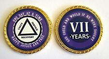 """Alcoholics Anonymous 7 Year Rope Edge Sobriety Coin Chip 1 3/4"""" - Purple/Purple"""