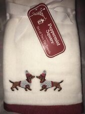 Peppermint Square Set Of 2 Christmas Dachshund Wiener Dog Cotton Hand Towels