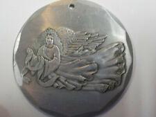 "Vintage Wendell August Hand Forged Aluminum Angel Pendant 2 1/8"" Diameter"