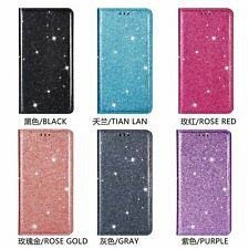 For iPhone Huawei Ultra-thin Glitter Bling Leather Flip Wallet Stand Phone Case