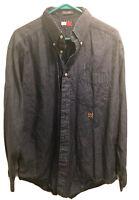 Tommy Hilfiger Mens Long Sleeve Blue Button Down Dress Shirt Size Large
