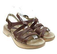 Dromedaris Golden Eagle Womens Brown Leather Strappy Slingback Sandals Sz 39 / 8