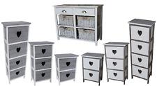 Shabby Chic Wicker Basket Love Heart Drawer Hallway Cabinet Storage Chest Table