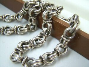 """MODERNIST SOLID STERLING SILVER MENS CHUNKY FANCY LINK 19"""" CHAIN NECKLACE HEAVY"""