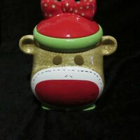 Real Home Earthern Ware Cookie Jar Girl Sock Monkey Red Green Polka Dots