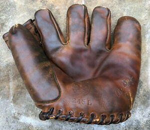 Vtg 1930s Red Rolfe Reach Model 245L Baseball Glove Mitt Permawear NY Yankees