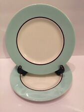 Set of 2 Pagnossin Audrey Robin Egg Blue Brown Verge Salad Plates Made in Italy