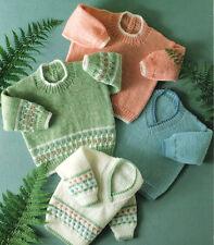 "Baby Sweaters Plain or Flower Border ~ DK Knitting Pattern ~  18""- 24"""