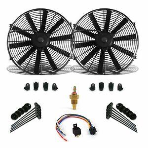 Universal GM 8 DUAL FANS Air Cooling Fan Push Pull slim electric 12v car rat